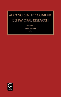 Advances in Accounting Behavioral Research, Volume 10