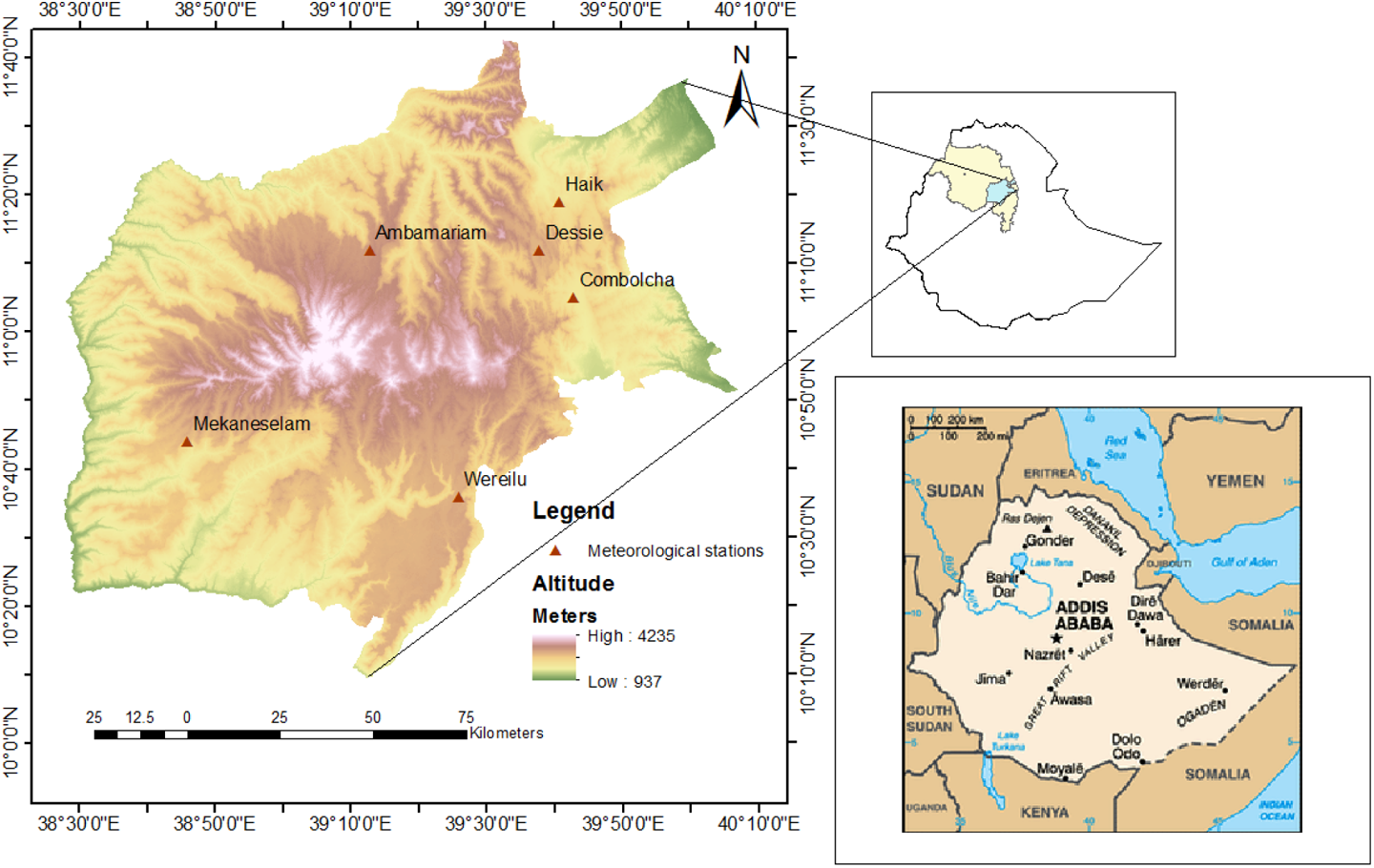 Meteorological drought assessment in north east highlands of